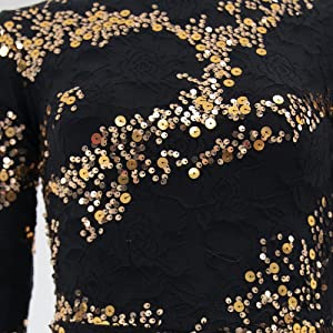 gold sequin black lace biketard fabric