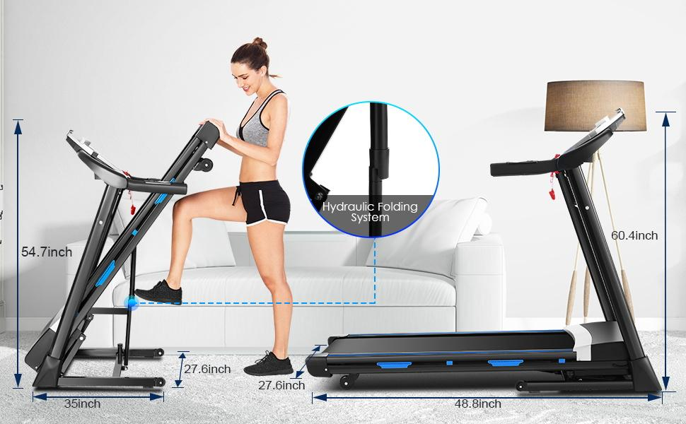 Folding Treadmills Exercise Machines with Automatic Incline Electric fold Treadmill