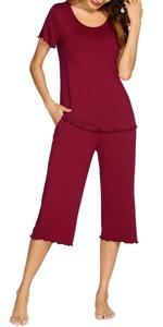 wine red pajamas