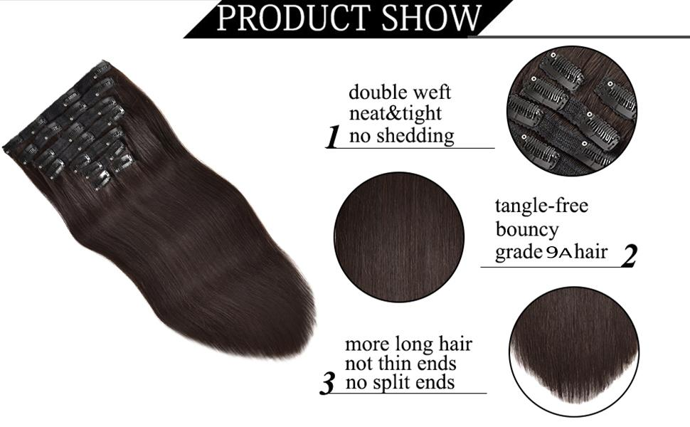 Clips in human hair extensions