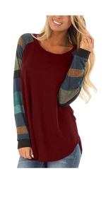 Color Block Sweatshirts Tunic Tops