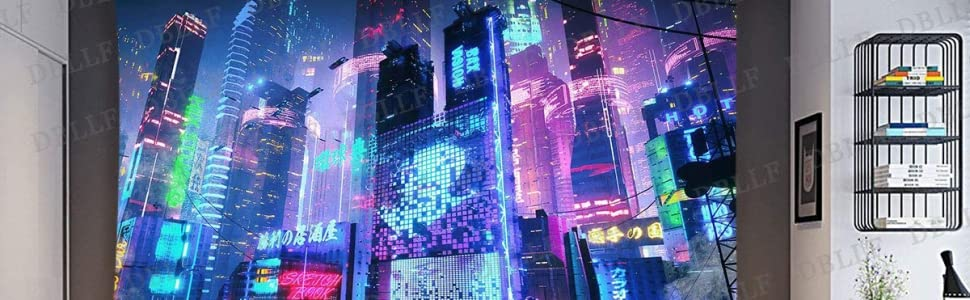 Cyberpunk City Tokyo Tapestry