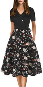 Vintage Dress for women O-Neck Contrast Casual Dress with Pockets Party Swing Tea Dress Floral dress