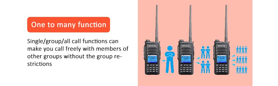 The walkie talkie has one to many function, single/group/all call function
