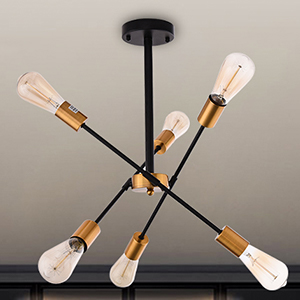 black and gold light fixture for low ceiling
