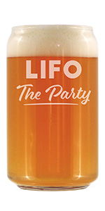 Text says LIFO the Party in bold text, engraved onto a beer can shaped pint glass