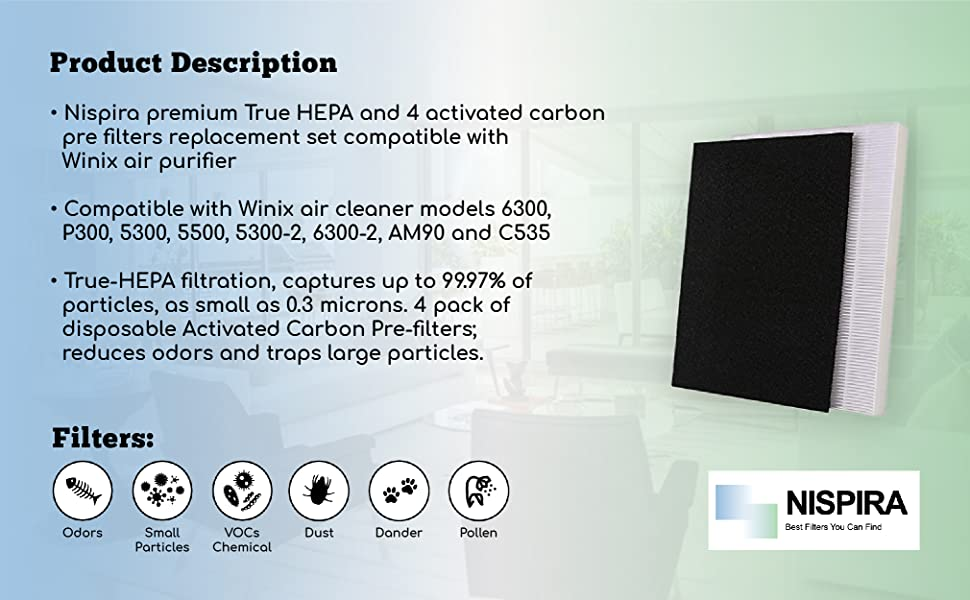 Nispira C535 Replacement Filter A True HEPA 115115 Size 21 PlasmaWave Compatible with Winix