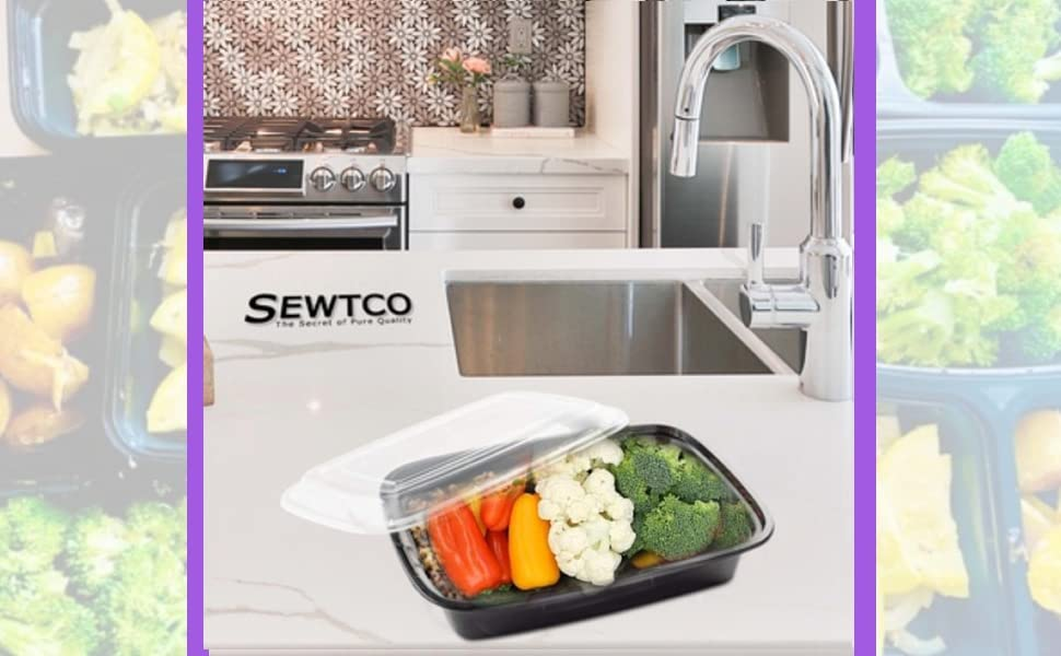 sewtco meal prep container in kitchen