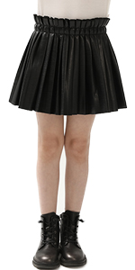 Pu Leather Pleated Skirts