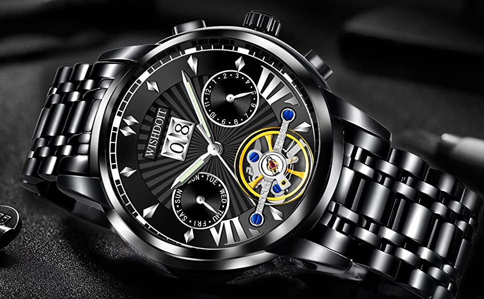 Black stainless steel automatic mechanical movement men's watch