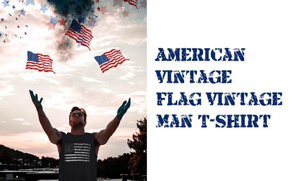 LUKYCILD American Vintage Flag  Man Tank Tops Classic Patriot USA Stripes and Star Gift Vest