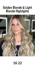 human hair extensions golden blonde and light blonde highlights 16 22