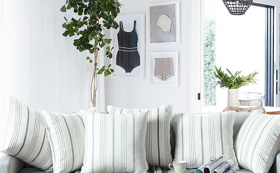 farmhouse stripe pillow covers