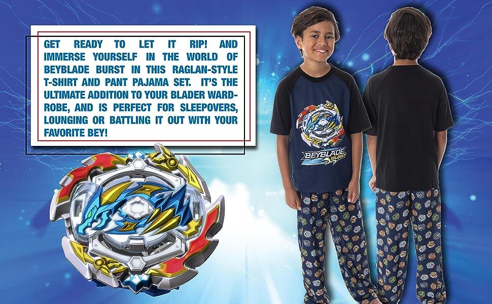 Beyblade Burst Boysamp;#39; Wizard and Spinner Tops 2 Piece Pant/Raglan Pajama Set