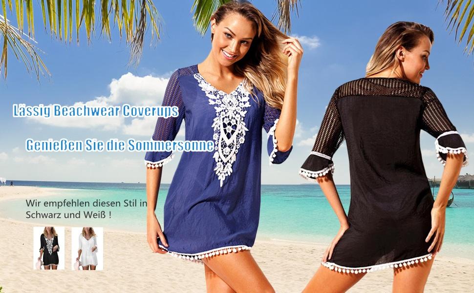 Strandkleider Damen Sommer Bikini Cover Up Strandponcho Kleider
