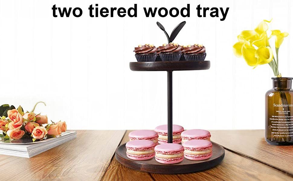 2 Tiered Wood Tray Stand