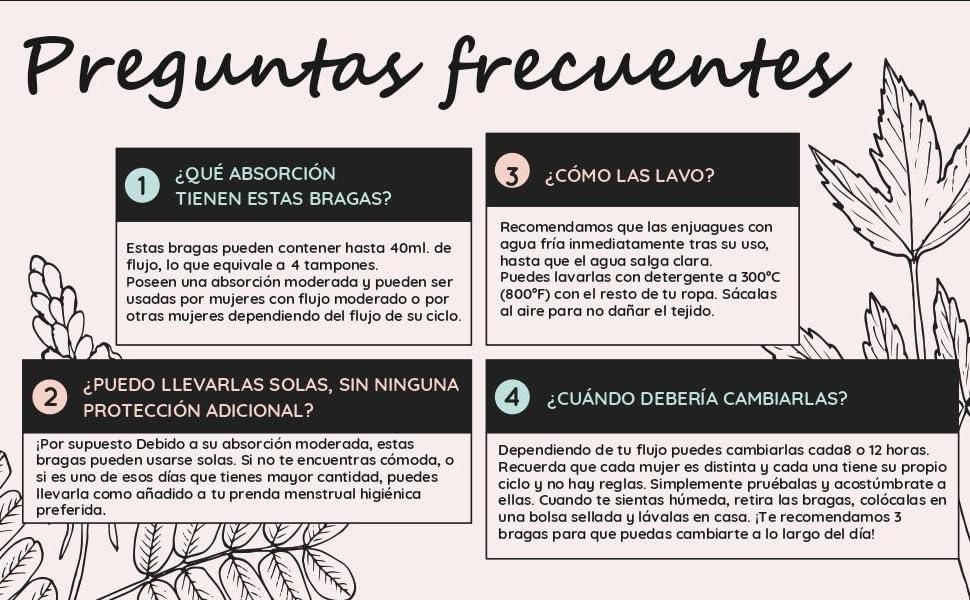 Bragas Menstruales absorbentes=2 tampones - Lavables - Algodón - Ecológicas - Menstruación - Bragas de reglas Flujo Periódico de moderado a ...