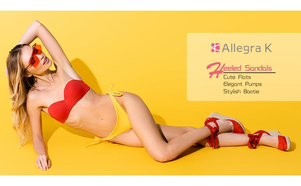 Allegra K Women's Closed Toe Espadrilles Wedges Tie Up Wedge Sandals