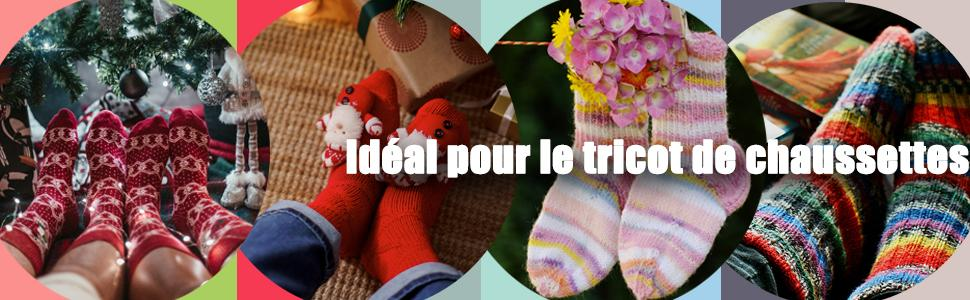 Affichage des chaussettes tricotées finies