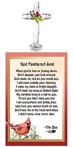 cardinal cross loss grief sympathy memorial gift figurine