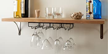 Two Black Wine Racks installed with accessories