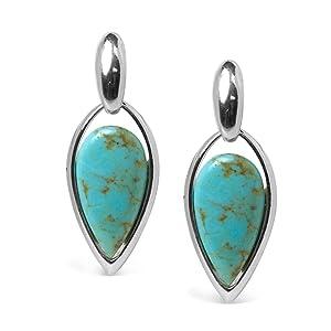 sterling silver gemstone turquoise dangle drop earrings