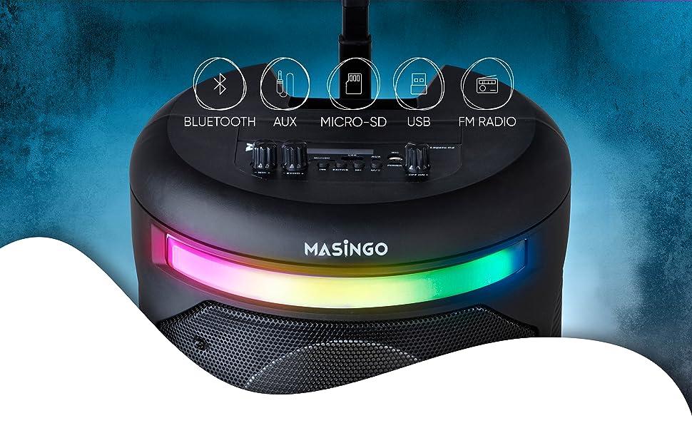 Karaoke machine with plug in microphone