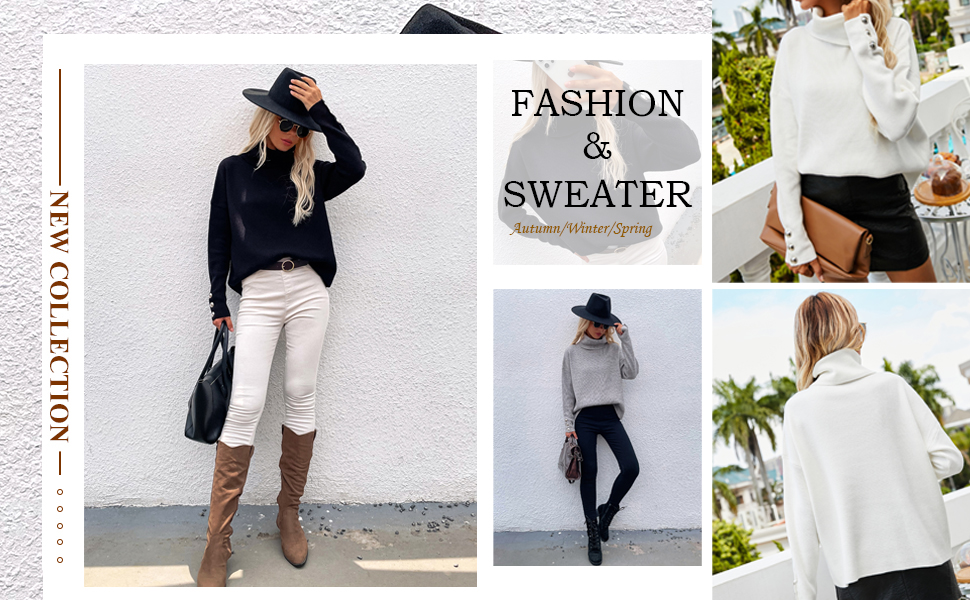 Women's Turtleneck Sweater Long Sleeves Loose Ribbed Knit Pullover Jumper Tops