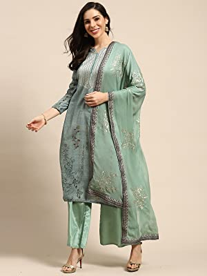 Rajnandini Womens Pure Muslin Embroidered Unstitched Salwar Suit MaterialSALWAR SUIT MATERIAL