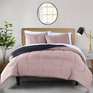 Pink and grey Reversible microfiber 3-Piece comforter