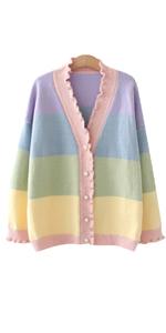 Women Knitted Rainbow Striped Cardigan Sweater