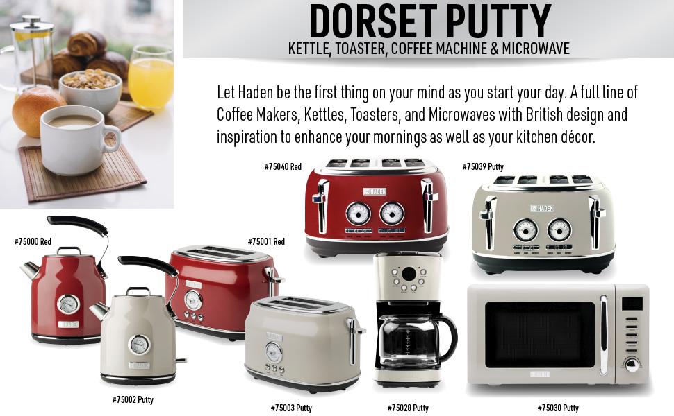 dorset putty, dorset 75002, dorset 75003, putty electric kettle, putty toaster, retro kettle