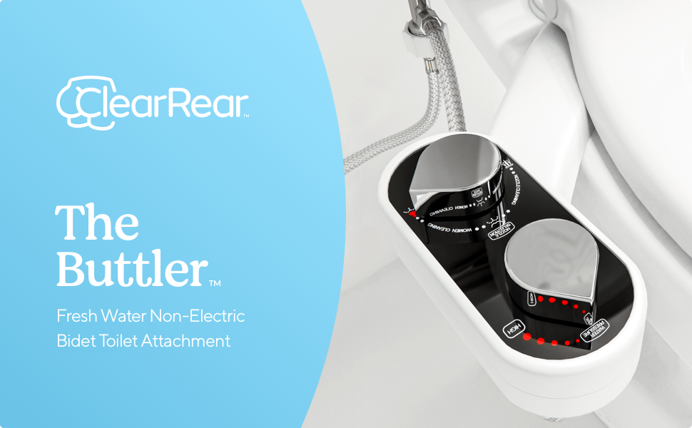 Clear Rear | The Buttler, Fresh Water Non-Electric Bidet Toilet Attachment