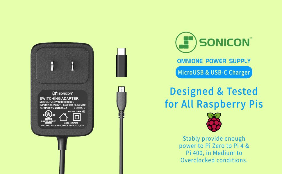 Sonicon OmniOne Power Supply MicroUSB USB-C Charger for Raspberry Pi