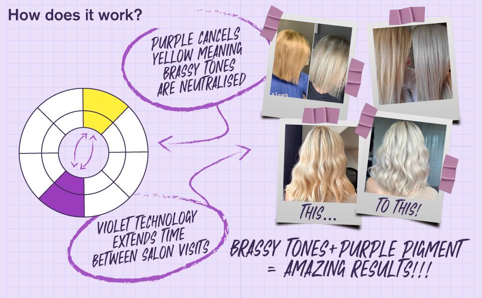 Purple Shampoo Conditioner Removes Brassy Yellow Tones Blonde Platinum Silver Paraben Sulfate Free