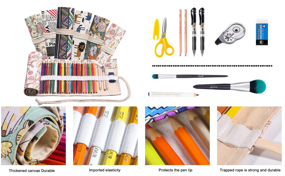 Colored Canvas Pencil Case Roll Wrap Holders