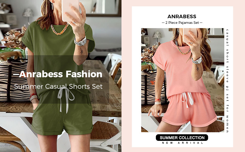 Womens Summer Two Piece Pajamas Set Casual Short Sleeve Top and Shorts Sweatsuit Tracksuit