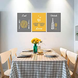 Yellow and grey wall decor for dining room