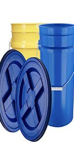 Yellow and Blue buckets with blue gamma food grade pail container storage 5 gallon bucket