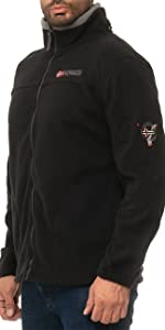 Black men's fleece jacket with a Norway flag on the chest