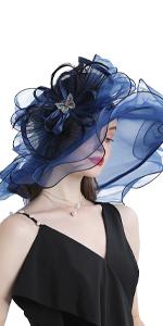 Women's Organza Church Kentucky Derby Fascinator Bridal Tea Party Wedding Hat  Navy Blue