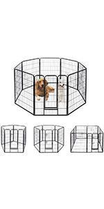 8P Foldable Metal Pet Fence Barrier Playpen