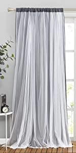 grey double curtains