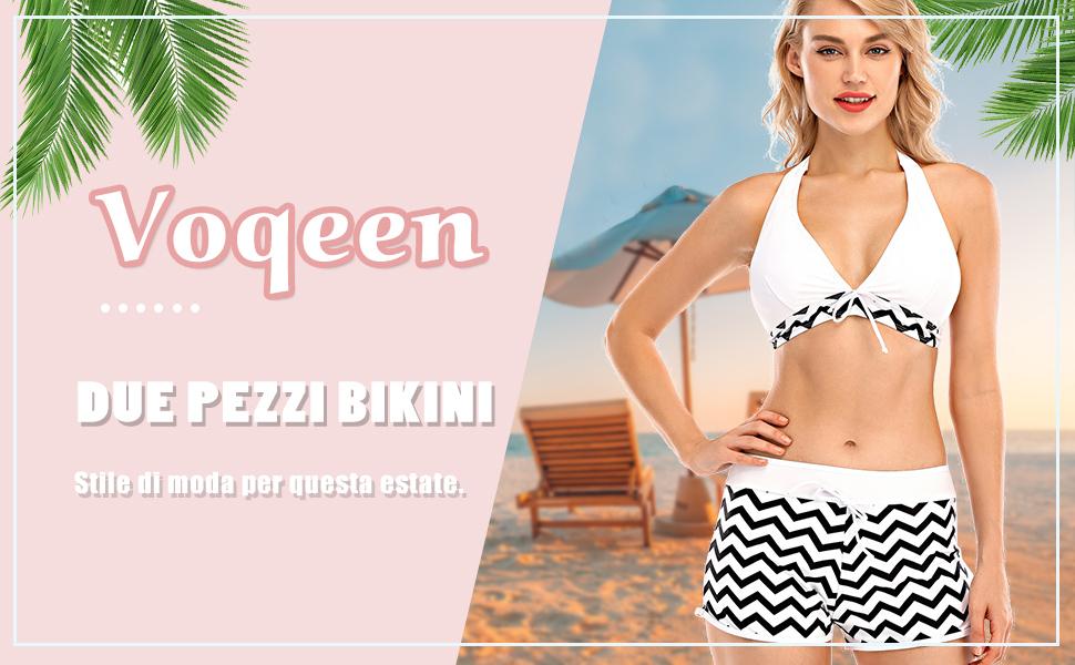 Costumi da Bagno Donna Bikini Due Pezzi Set Tankini Beachwear Swimwear Costume a Fascia