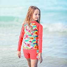 Girls Two Piece Swimsuit Floral UPF 50+