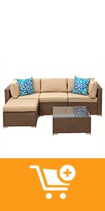 5 pieces outdoor patio furniture sets