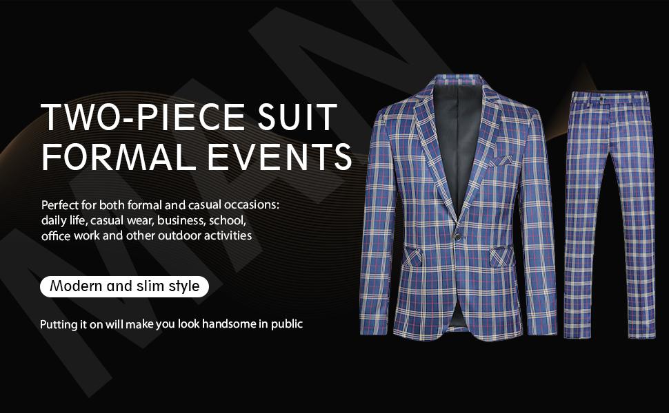 mens slim fit dress suits plaid checked style 2 piece blazer jacket pants set formal casual wear