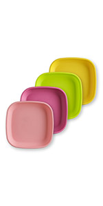 blush bright pink lime yellow flat 7in plate