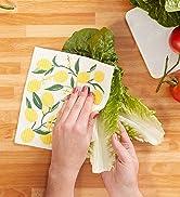 Lemon print swedish dishcloth cleaning vegetables