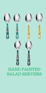 hand painted salad servers hang in your kitchen and decorate it